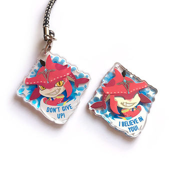 Sidon DOUBLE SIDED Prince Zora Zelda Breath of the Wild Acrylic Charm keychain