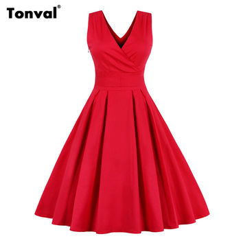 Tonval Red Dress for Christmas Women Sexy V Neck Pleated Dress Plus Size Sleeveless Backless Vintage Party Elegant Bow Dress