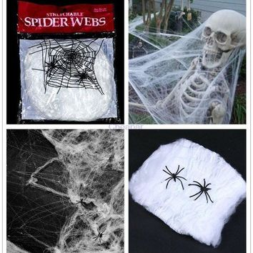 ICIK4S 2016 Halloween Scary Party Scene Props White Stretchy Cobweb Spider Web Horror Halloween Decoration For Bar Haunted House