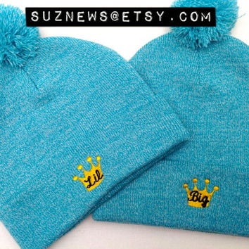 Big Little Sister Gift Crown Aqua Embroidered Beanie Pom Pom Sorority Knit Cap ZTA Hipster Girl