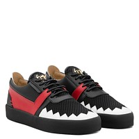 Giuseppe Zanotti Gz Haden Black Stretch Leather Low-top Sneaker With White And Red Leather Inserts