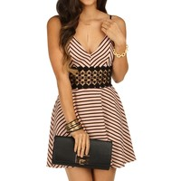 Promo-flirty Striped Skater Dress