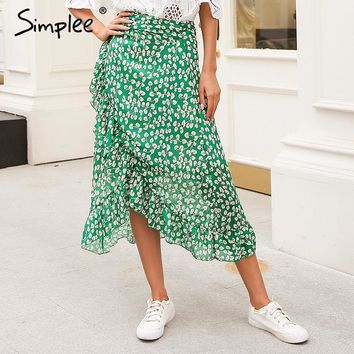 Simplee Ruffle leaf print wrap skirt women Sash tie up beach summer skirt asymmetric  High waist streetwear long skirt femme