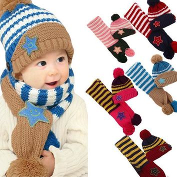Little Kids Knitted Winter Beanie Hat and Scarf Set, 1 to 4 years