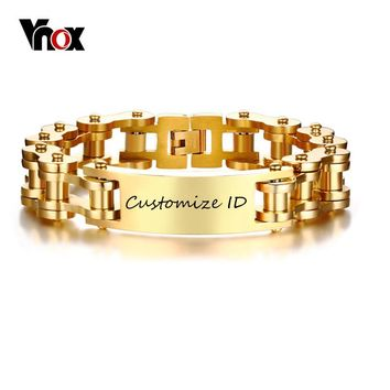 "Vnox Free Personalized Engraving Record 12MM ID Bracelet for Men Gold Tone Stainless Steel Bike Chain 9.25"" Pulseira Masculina"
