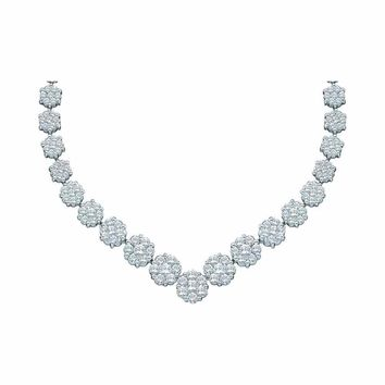 14kt White Gold Womens Round Diamond Cluster V-Shape Luxury Necklace 5.00 Cttw