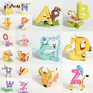Creative Cartoon Animal Design Alphabets Puzzles 26 Letter Set A~Z 3D DIY Educational Early ABC English Learning Toy for Kids