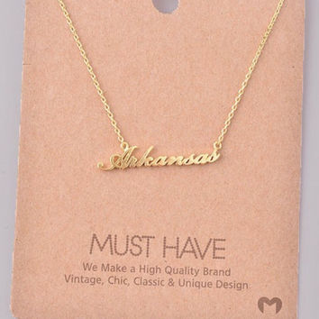 Arkansas Script Necklace