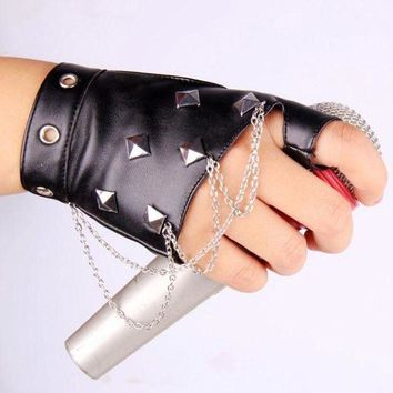 ac PEAPO2Q Unisex Punk Party Fingerless Leather Glove Women Rivet Personality Nightclub Singer Female Glove Men Half Finger Dance Glove 215
