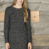 Heather black knit sweater dress