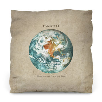 Third Planet from the Sun Outdoor Throw Pillow