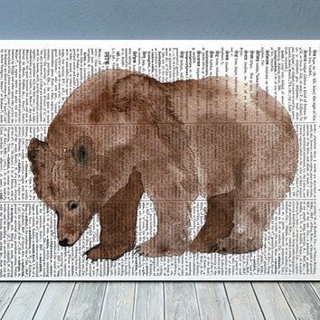 Animal poster Bear print Grizzly art Dictionary print RTA1882