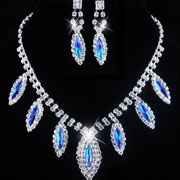 New Jewelry Blue Classic bride Rhinestone Necklace wedding dress two sets of chain