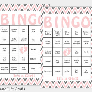 30 Baby Feet Baby Shower Bingo Cards - 30 Prefilled Bingo Cards - Girl Baby Shower Game - Pink Gray Baby Feet Download - B17004