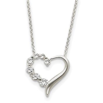 Sterling Silver Heart Journey Necklace 18 In