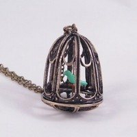 Victorian Style Bird Cage Necklace with Blue Green Canary