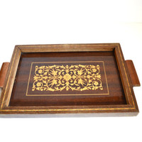 Wood Tray Inlay Wooden Tray Gallery Tray Serving Tray Drink Tray Bar Tray Barware Square Tray Art DecoTray Vanity Tray