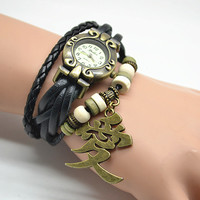 Steampunk wrist watch,Anime Naruto Garra's Sand Gourd charm bracelet watch,with Chinese ' love' word charm