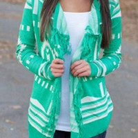 Green Turn-Down Collar Fringed Long Sleeve Printed Cardigan