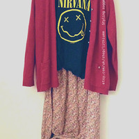 90s Vintage Floral Skirt Grunge maxi long pink yellow boho hippie pagan wiccan