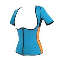 Running Vests Jogging 2018 XS - 5XL Blue Large plus size women sweat enhancing gym workout sport top fast fat burn female  sauna suit E85 KO_11_1