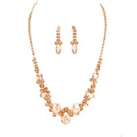 Peach Crystal Rose Gold Necklace Earrings Set