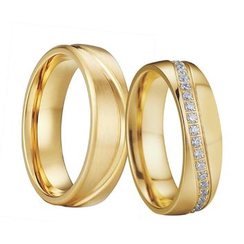 Wedding Band Rings Men Gold color aneis anel masculino size 15 feminino anillos Cubic Zirconia Engagement Couple Rings For Women