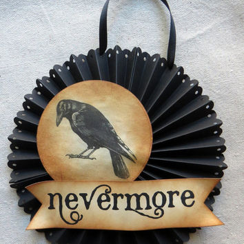 Halloween POE CROW door or wall medallion