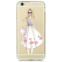 Girl with Big 50's Style Pink Flamingos Skirt Clear Phone Case For iPhone 7 7Plus 6 6s Plus 5 5s SE