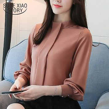 New spring Women Blouses shirt Long Sleeve Fashion Casual women's clothing solid Chiffon Clothes women Tops blusas D456 30
