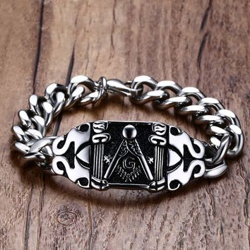 XUANPAI Punk Casting Masonic Bracelet for Men Stainless Steel Curb Link Chain Hip hop Rocky Freemason Male Jewelry