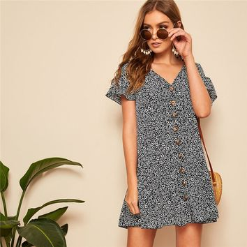 Loose Button Up Floral Dress