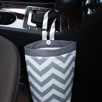 Car Trash Bag ~ Gray Chevron ~ Gray Band ~ Gearshift Handle ~ Oilcloth Lining
