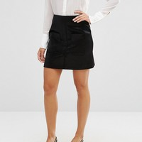 River Island Brushed Velvet Mini Skirt With Front Pockets at asos.com