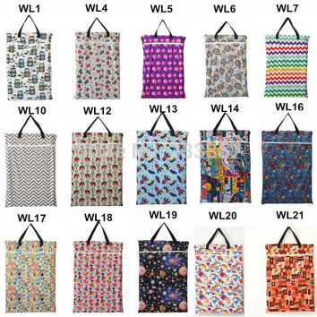 [Sigzagor] 1 U PICK Large Hanging Wet/Dry Pail Bag for Cloth Diaper,Inserts,Nappy,Laundry With Two Zippered,Reusable,19 Choices