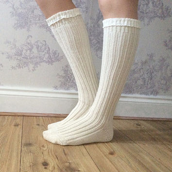 Cream Boot Socks, Crochet Lace Socks, Wool Blend Knitted Socks, Leg Warmers, Winter Wear, Fashion Accessory, Fashion Socks. Wool Stockings.