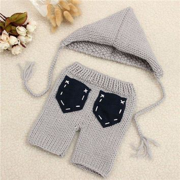 Newborn Baby Girls Boys Crochet Knit Gery Cute Costume Photo Photography Prop Outfits