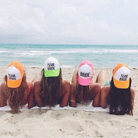 Neon Team Bride Bachelorette Party Hats