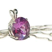 Alexandrite Necklace, Sterling Silver Chain, 13mm Round Gemstone, Pendant necklace