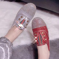 GUCCI  Women Fashion Diamonds Flats Shoes