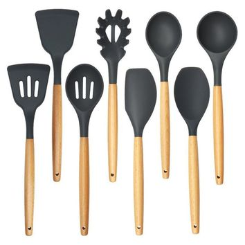 8pcs/set Wood Handle Silicone Non-stick Cooking Utensil Set Spaghetti Spoon Shovel Spatula Ladle Kitchen Utensil Set