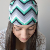 Emerald Chevron head band, Soft stretch turban