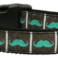 Aqua Moustaches Ribbon Dog Collars Medium