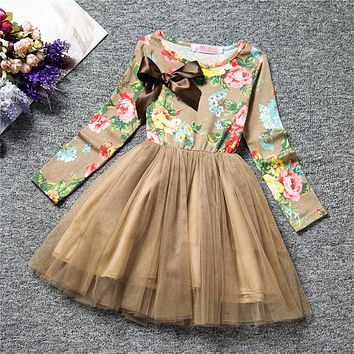 Flower Print Girl Dress Autumn Winter New Brand Christmas Costume For Girls Party Birthday Tutu Girls Dresses Children Clothing