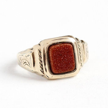 Antique Goldstone Ring - Vintage Victorian Gold Shell Band - Size 7 1/2 Vintage Copper Aventurine Glass Leaf Engraved Unisex Jewelry