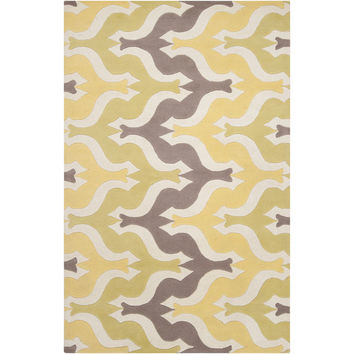 Aimee Wilder Collection New Zealand Wool Area Rug in Yellow, Silver Cloud, and White design by Surya