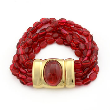 Kenneth Jay Lane 6 Strand Ruby Bead Bracelet