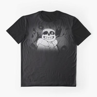 Undertale Sans Art Full Print (Black and White) by The Feline