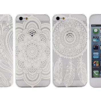 Vintage White iPhone Cases - 3 Styles (Paisley, Flower or Dream Catcher) Fits 5, 5S, 5C, 6, 6Plus