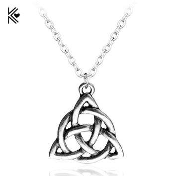 Hot New Style Viking Jewelry Celtic Knots Necklaces &Pendants Triquetra Silver Color Metal Chain Gift For Women And Men